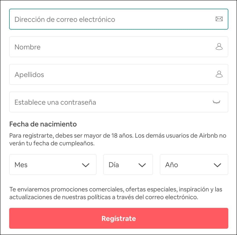 como registrarse en airbnb