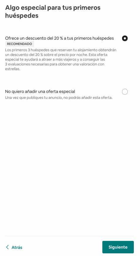aplicar descuento 20% airbnb primeras reservas