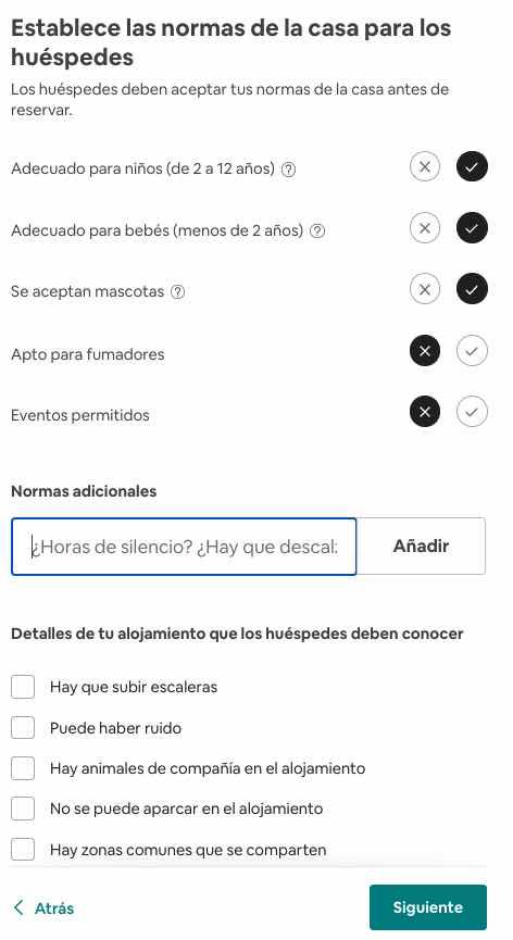 configurar normas anuncio airbnb