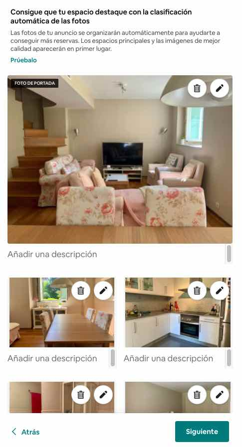 subir fotos a un anuncio airbnb